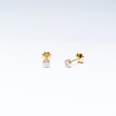 Pendientes bebé oro amarillo y circonita en chatón 3mm 5236zp