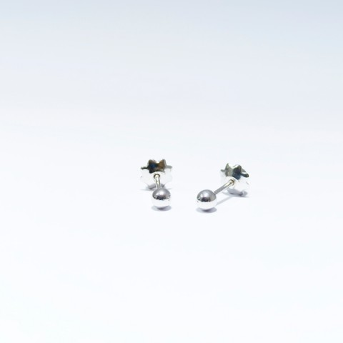 Pendientes bebé bola 3mm oro blanco 18kts 5036-3ob