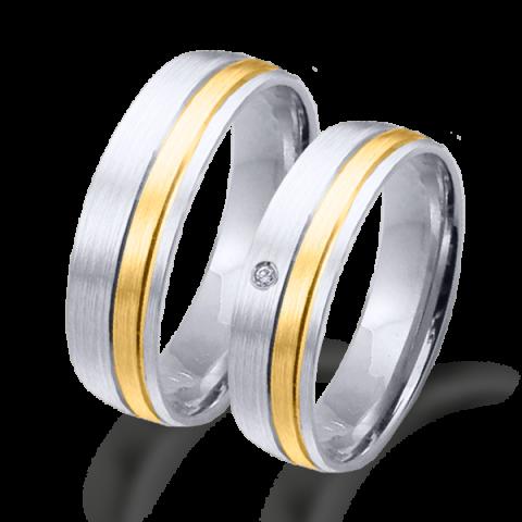 Alianza boda bicolor oro blanco y amarillo  6638ba