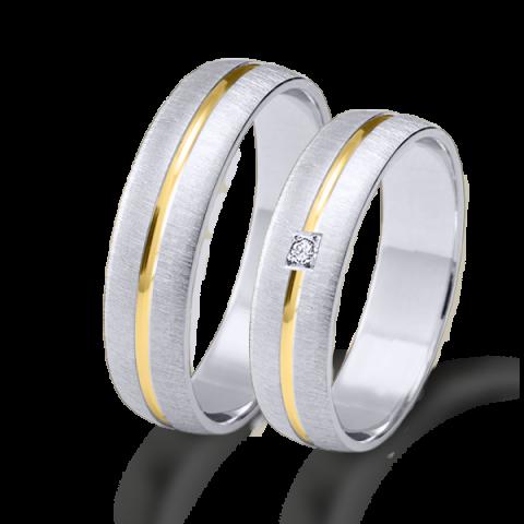 Alianza matrimonio bicolor oro blanco y amarillo 6644ba