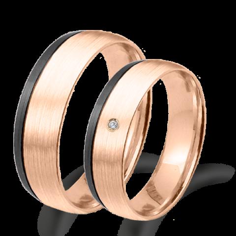 Alianza matrimonio oro  rosa y rodio negro 6691rn