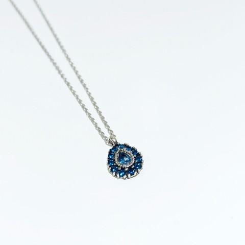 Collar plata Top Silver circonitas azules co6524p