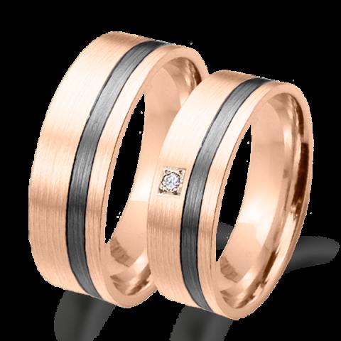 Alianza matrimonio oro  rosa y rodio negro 6681rn
