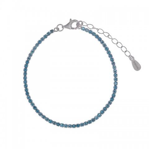 Pulsera plata tipo Riviere Salvatore azul cielo 258p0012