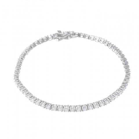 Pulsera plata tipo Riviere Salvatore circonitas blancas 163a0023