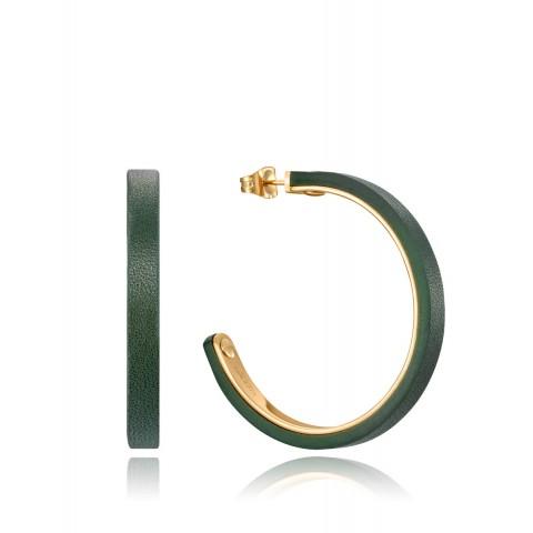 Aros en acero dorado Viceroy Outlet 15024e01012 piel verde0