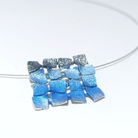 Collar plata ley Orfega Mosaico azul y negro 6262p