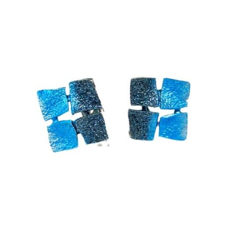 Pendientes plata ley Orfega Mosaico azul y negro 0112262p