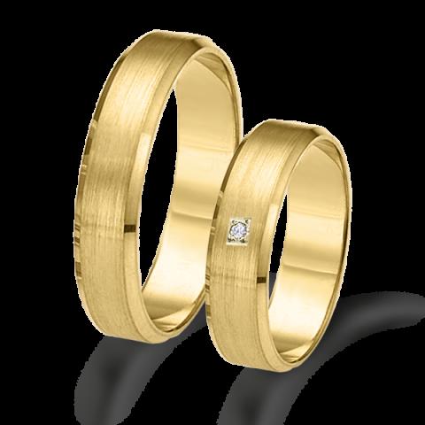 Alianzas de matrimonio oro amarillo plana mate con bisel 6324am