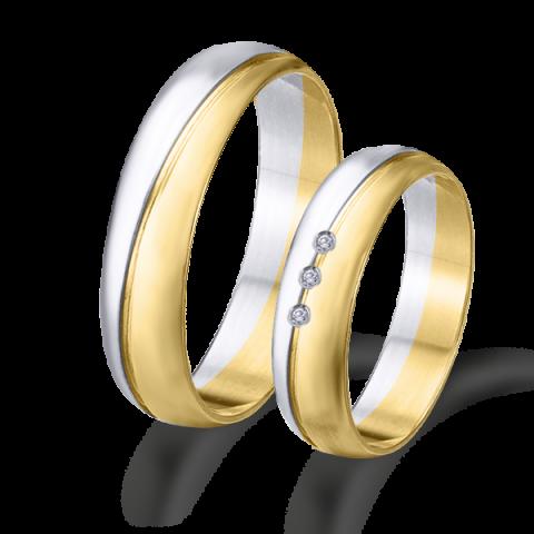 Alianzas  de boda bicolor oro blanco y amarillo 6427ba