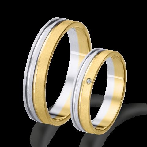 Alianza matrimonio bicolor oro amarillo y blanco 6430ba