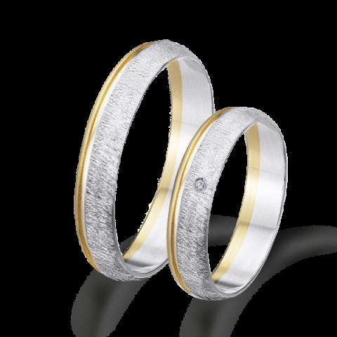 Alianzas boda bicolor oro amarillo y blanco 6482ba