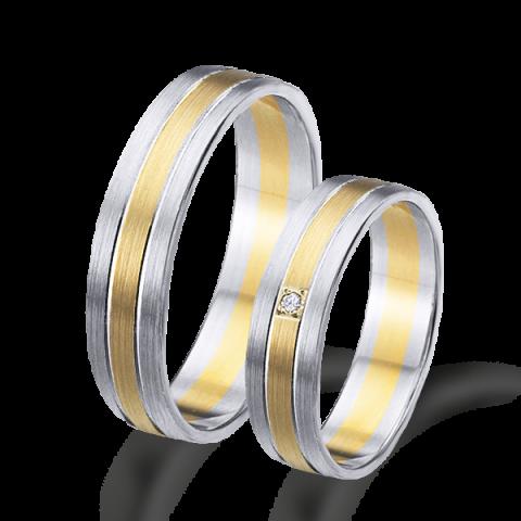 Alianzas  boda oro amarillo y blanco matizadas 6496ba