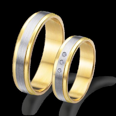 Alianza boda bicolor oro amarillo y blanco 6620ab