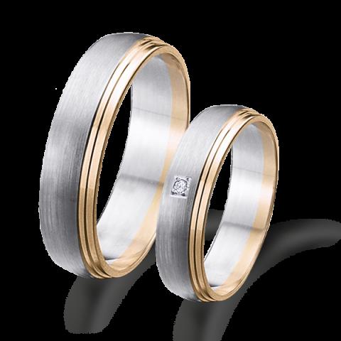 Alianza matrimonio bicolor oro blanco y rosa 6621br